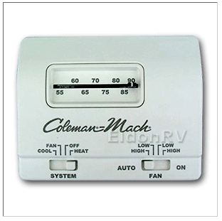thermostat standard analog 12v 6 wire heat cool coleman 7330g3351 rh eldonrv com coleman ac thermostat wiring diagram coleman mach rv thermostat wiring diagram
